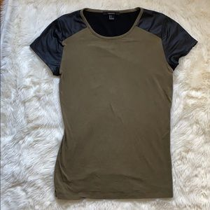 F21 faux leather t-shirt